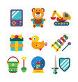 set of colorful kids toys in flat style vector image