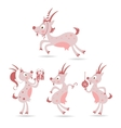 set of cute Christmas goats vector image