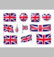 set united kingdom flags banners banners vector image