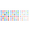 social media color round web icons collection vector image