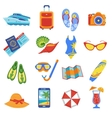 Summer vacation flat icons collection vector image