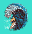 surf badge retro wave vintage surfer logo vector image