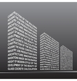 The stylised building built out of words vector image vector image