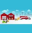 warehouse building and shipping process flat vector image