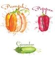 watercolor blots set of vegetables vector image