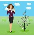 woman holding a fan of money vector image vector image
