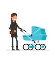 Woman standing next to the pram Girl on a walk vector image