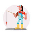 woman standing with fishing rod vector image vector image