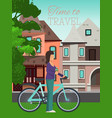 woman travels riding bicycle poster vector image vector image