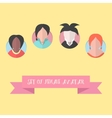 women avatar set with pink ribbon vector image vector image