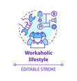 workaholic lifestyle concept icon ergomaniac idea vector image vector image