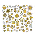 honey apiary icons set sketch for your design vector image