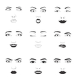 Woman emotions face icons vector image