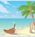 wooden boat on sandy beach with palms vector image