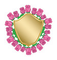 golden shield with red roses - frame vector image