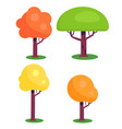 set of colorful trees with red green yellow leaves vector image