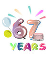 67 years anniversary celebration greeting card vector image vector image