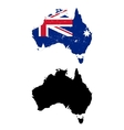 Australia country black silhouette and with flag vector image vector image