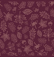 autumn leaves seamless background purple vector image vector image