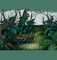 background scene with forest in the rain vector image