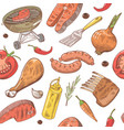Bbq and grill hand drawn seamless background vector image