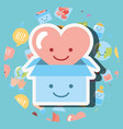 cardboard and heart love cartoon kawaii charity vector image vector image