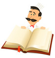 chef cook holding recipes book vector image vector image