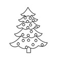 christmas tree pine decoration balls outline vector image vector image