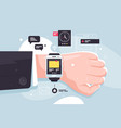 close up modern mobile smart watch on businessman vector image
