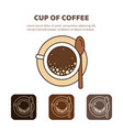 coffee cup icon linear view from above vector image vector image