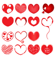 collection of red hearts vector image vector image
