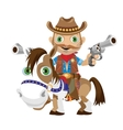 Cowboy rider with guns on a horse vector image