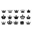 crown black icons royal princess or prince symbol vector image