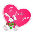 cute little bunny with bouquet tulips vector image vector image