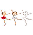 doodle character for girl doing ballet vector image vector image