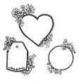 doodle heart pattern an oval and a label vector image vector image