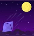 ethereum chrystal rocket falls dawn from the moon vector image vector image