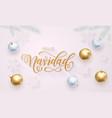 feliz navidad spanish merry christmas golden vector image vector image