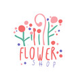 flower shop logo colorful badge for floral shop vector image vector image