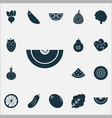 food icons set with spinach root gherkin and vector image