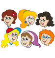 girls faces collection vector image