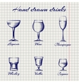 Hand drawn classic alcoholic drinks