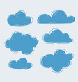 hand drawn clouds collection on white background vector image