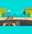 hands driving car highway inside a car vector image vector image