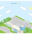 Isometric Airport with plans terminal and public vector image vector image