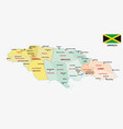 jamaica administrative map with flag vector image vector image