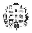 long vacation icons set simple style vector image