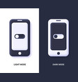 mobile phones with dark and light mode switcher vector image
