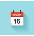 October 16 flat daily calendar icon Date vector image vector image