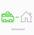 order delivery logistics web shop line icon vector image vector image